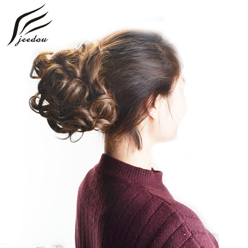 Jeedou Updos Synthetic Hair Chignon Clip In Hair Extensions Mix Color Hair Bun Pad Curly Chignon Wedding Hair Updos For Elegant