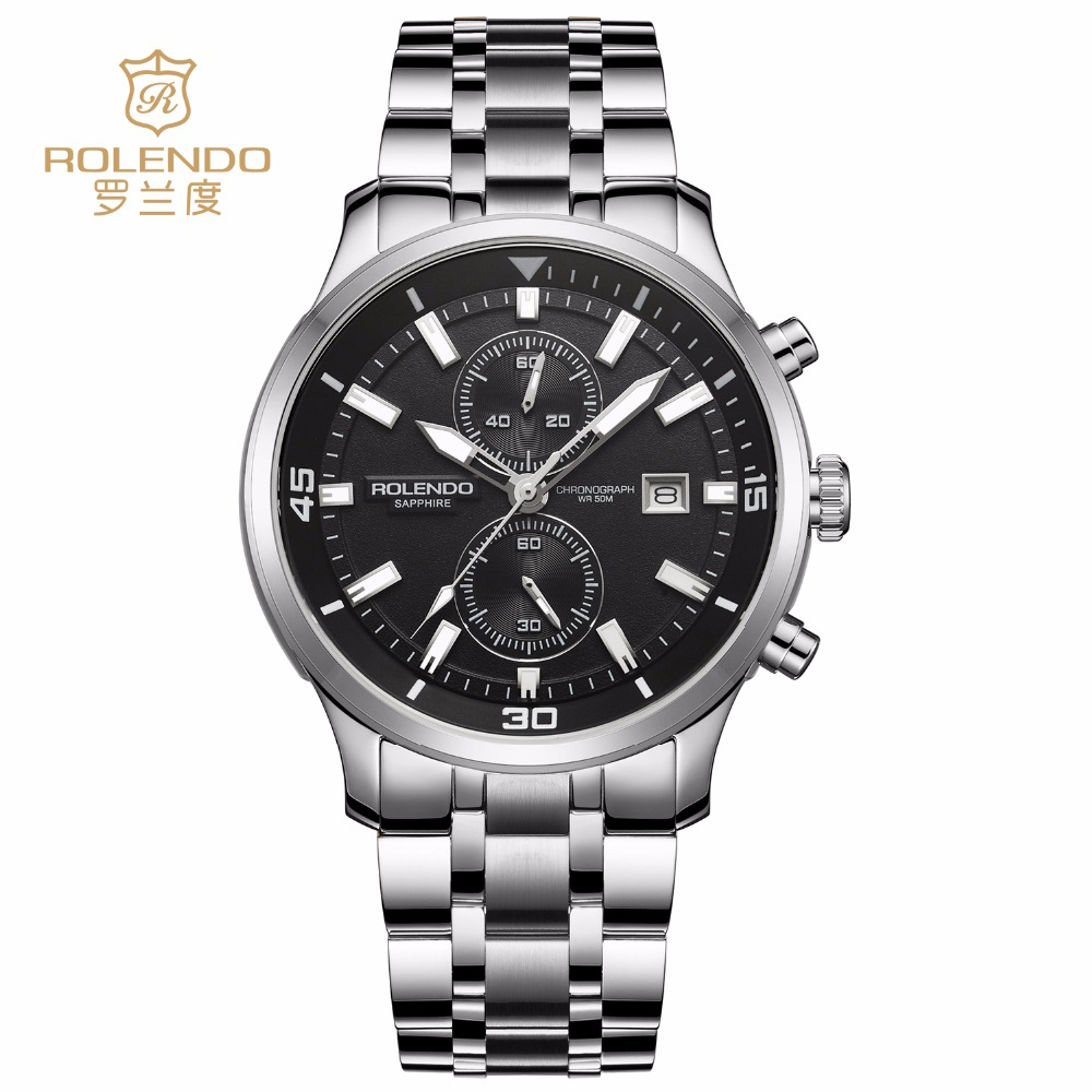 Rolendo 2018 homme Sport montres Quartz hommes montre en acier boîtier en cuir marron bande multifonction montre-bracelet Relogio Masculino horloge