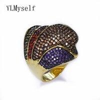 Oszałamiająca Luksusowe biżuteria Kolorowe kryształ duży pierścień bijuteria feminina moda Biżuteria Złota wielokolorowy Pierścień's dla partii
