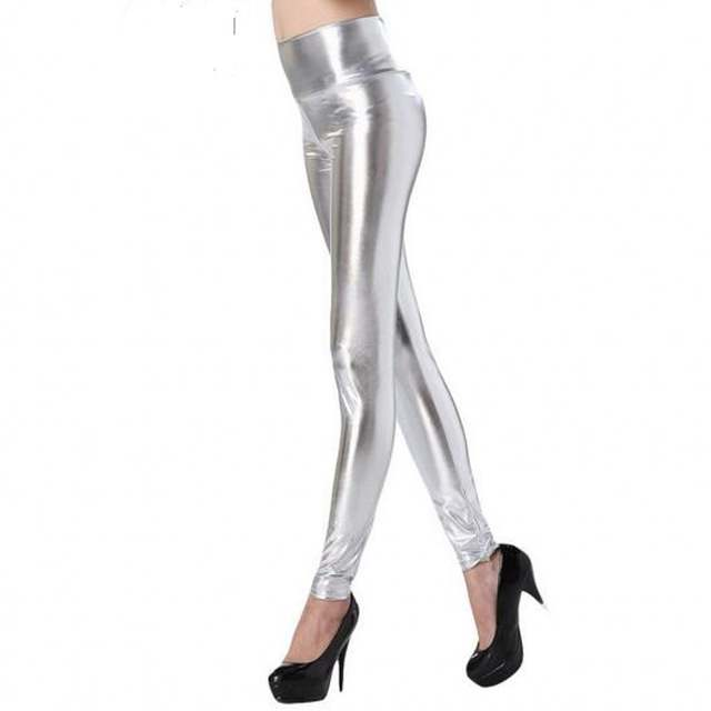 bbbd0c9290448 placeholder wetlook Silver Gold Black Shiny Metallic Leather High Waist  Leggings Fashion Skinny Stretch Pants Wetlook Faux