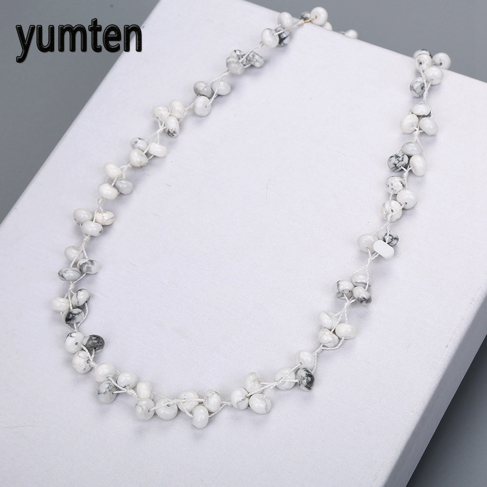 Yumten Magnesite Braided Necklace Fashion Crystal Lady Chain Valentines Day Fashion Casual Style Women Jewelry Colar Da Amizade