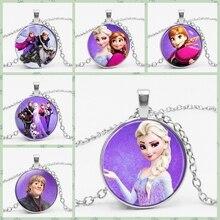 3 цвета, Брендовая женская длинная цепочка, ювелирное ожерелье, кристалл, кабошон, принцесса Эльза, Анна, снежный кулон в виде королевы, ожерелье для девочек