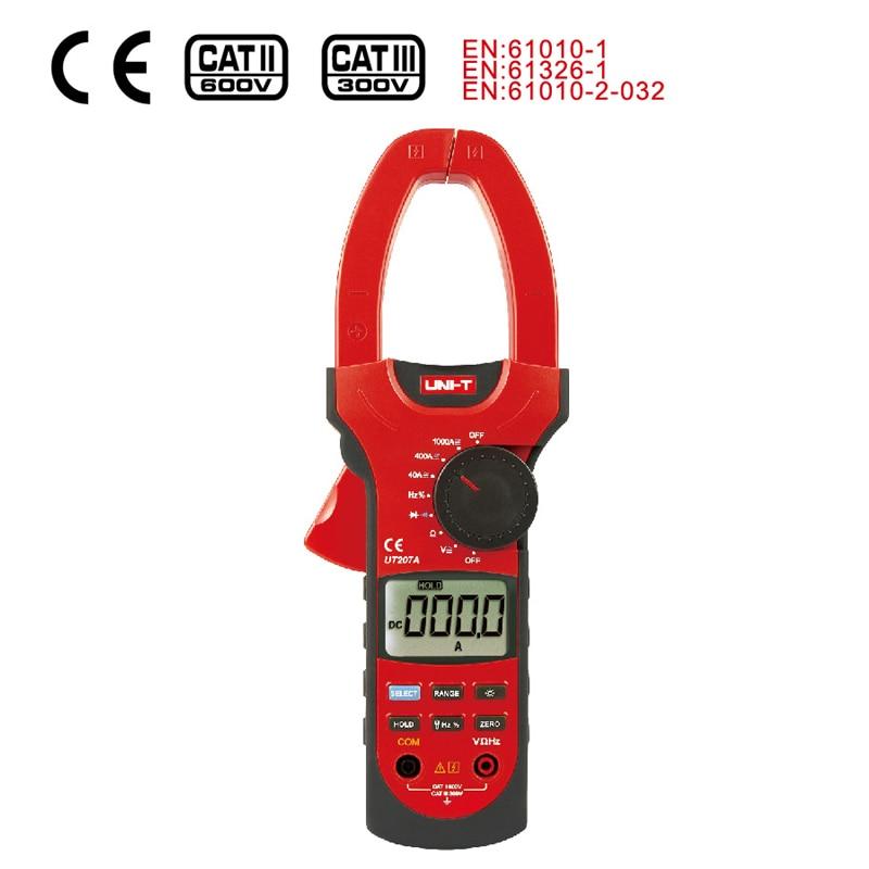 ФОТО 1pcs UNI-T UT207A 1000A digital clamp meter Clamp Meter AC/DC Volt Amp Ohm Hz(Without Black Plastic Box)
