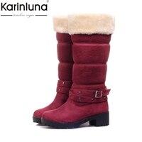 KARINLUNA brand new dropship big size 34 43 snow Boots Women Fashion Woman Shoes Winter warm plush mid calf Boots shoes women