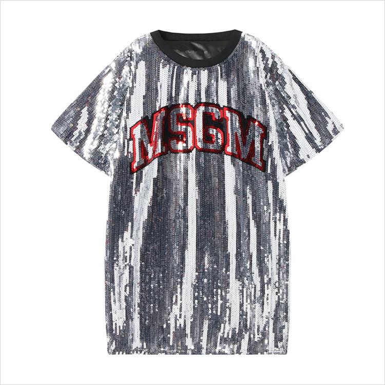 2019 Summer Women T Shirts Letter Sequins Short Sleeve Punk Rock T Shirts Women Cool T Shirt Loose Women Tops Blusa Streetwear