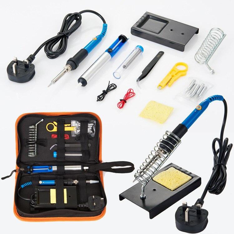 60W Adjustable Temperature Soldering Iron Kit With 5PCS Tips Desoldering Pump Soldering Iron Stand Tweezer