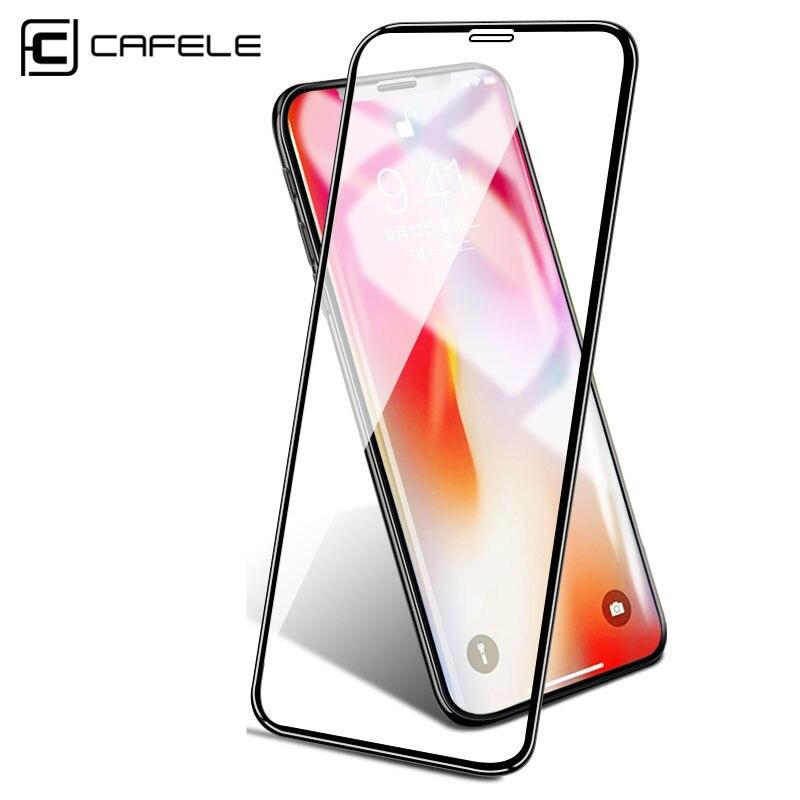 Protector de pantalla CAFELE para iPhone X XR XS Max vidrio templado 6D borde curvo HD limpieza cubierta completa vidrio Protector endurecido
