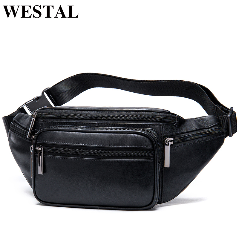WESTAL Sheep Genuine Leather Men's Waist Bag Black Belt Bag Men Male Fanny Pack Travel Men Waist Pack Hip Bags For Phone/Money