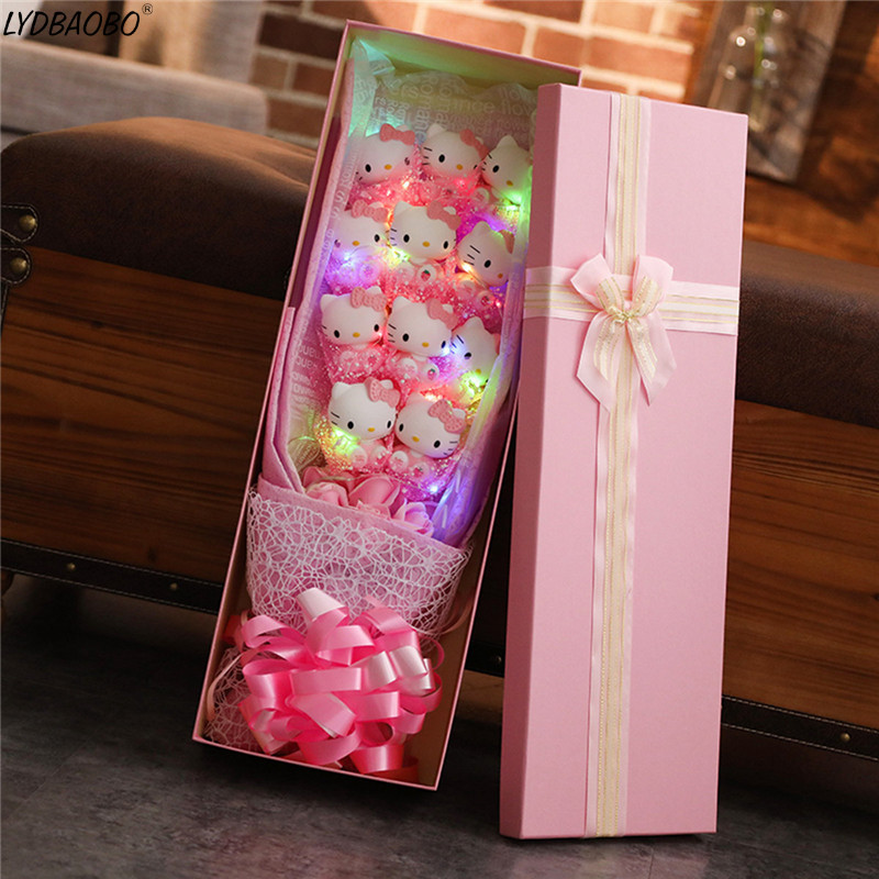 luminous Artificial Cartoon Cute Plush Toy Hello Kitty Festivals Gift LED Bouquet with Fake Flower Valentine's Day Wedding Gift artificial flower with 3pcs flower