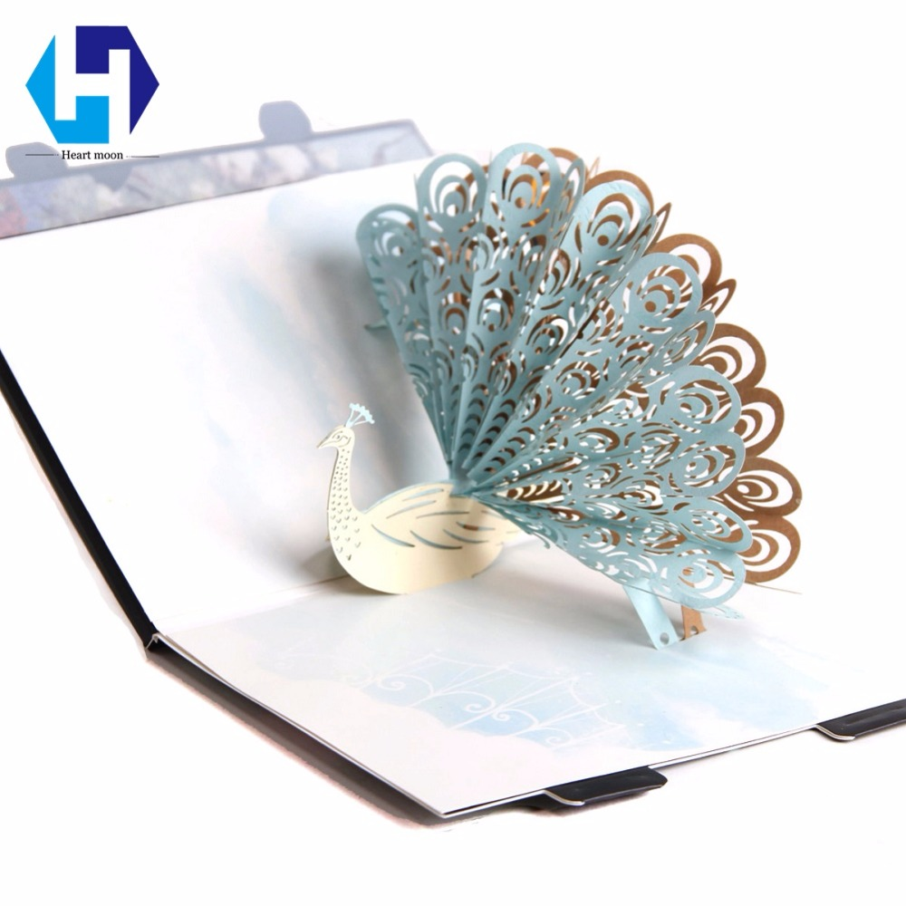 Music 3D pop up colorful printing Peacock greeting card laser cutting envelopes postcard hollow carved kirigami gifts music card spiral pop up musical notes 3d card music instruments pop up card bday pop up card