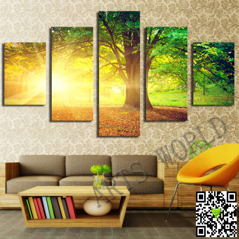 Free shipping green tree and sun nice landscape Modern Home Wall ...