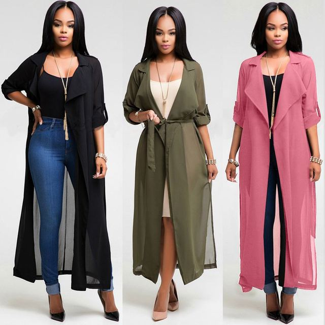 Summer Fashion Women Long Sleeve Lapel Chiffon Cardigan Blouse ...