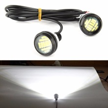 CYAN SOIL BAY 2PCS White 12 4014-SMD LED Eagle Eye Motorcycle Car Parking Fog Backup Light DRL Lamp 23MM
