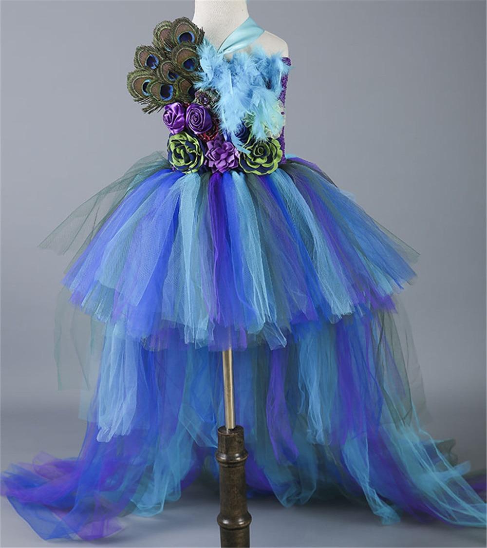 Cosplay paon plume fleur fille Tulle Tutu robe Pageant mariage Halloween Costume enfants fête d'anniversaire pourim Couture robe