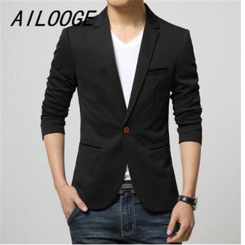 AILOOGE 2017 Mens Korean Slim Fit Fashion Cotton Blazer Suit Jacket  Plus Size M To 6XL Male Blazers Mens Coat Wedding Dress