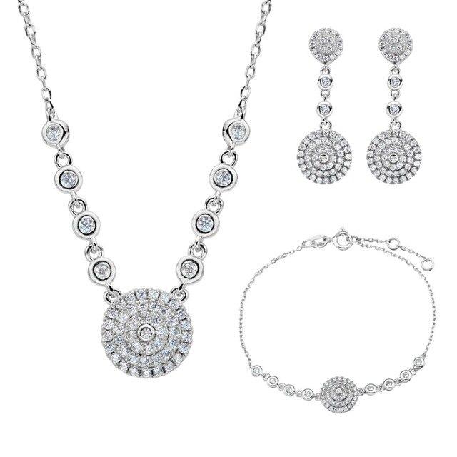 Bella Fashion 925 Sterling Silver Circle Round Bridal Necklace Earrings Bracelet Set Cubic Zircon Wedding Jewelry