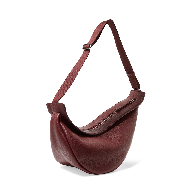 [Super Seabob] 2020 Spring Woman New Wine Red Black Color Wide Single Strap Zipper Half Moon PU Leather Chestbag All Match LI812