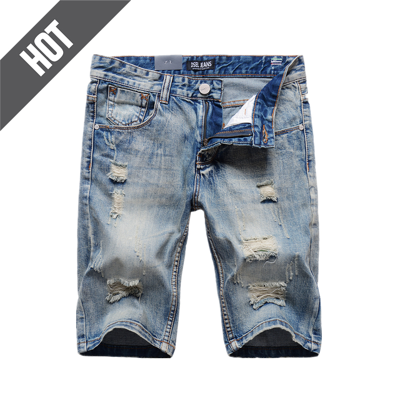 Destroyed Knee Length Jeans Masculino Shorts Men Brand Clothing Slim Fit Denim Shorts Solid Light Blue Short Jeans Bermuda F1001 new arrival fashion ladies cartoon characters print box shape casual handbag shoulder bag women s crossbody messenger bag flap