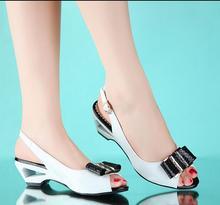 2015 Summer Shoes Woman Wedges Women Genuine Leather Wedge Sandals Platform Sandals fish head sandals Women's shoes