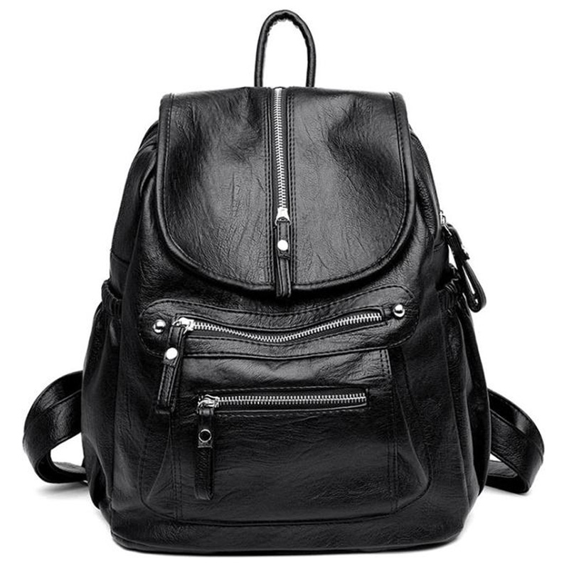 Fashion Wild Casual Soft Leather Ladies Travel Backpack Leisure Travel Bag Wild Textured Backpack