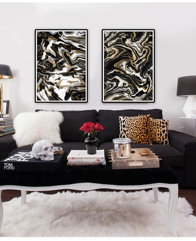 Black and white Gold nordic poster Modern home decor wall canvas art Abstract pictures for living room oil painting Original