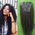 Afro crespo encaracolado Preto Natural grampo de Cabelo em extensões do cabelo Humano 9 Pçs/set 100% Brasileira kinky curly grampo no Cabelo extensões
