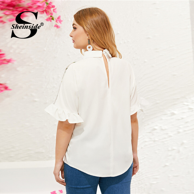 Sheinside Plus Size White Contrast Mesh Embroidered Blouse Women 2019 Summer Half Sleeve Blouses Ladies Flounce Sleeve Top 1