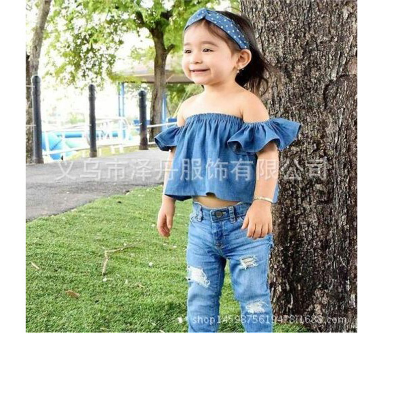 690ad5840 new 2018 Jeans baby Bohemian Style Off Shoulder Crop tops Baby girl off the shoulder  denim shirts girls stringy selvedge top-in Tees from Mother & Kids on ...