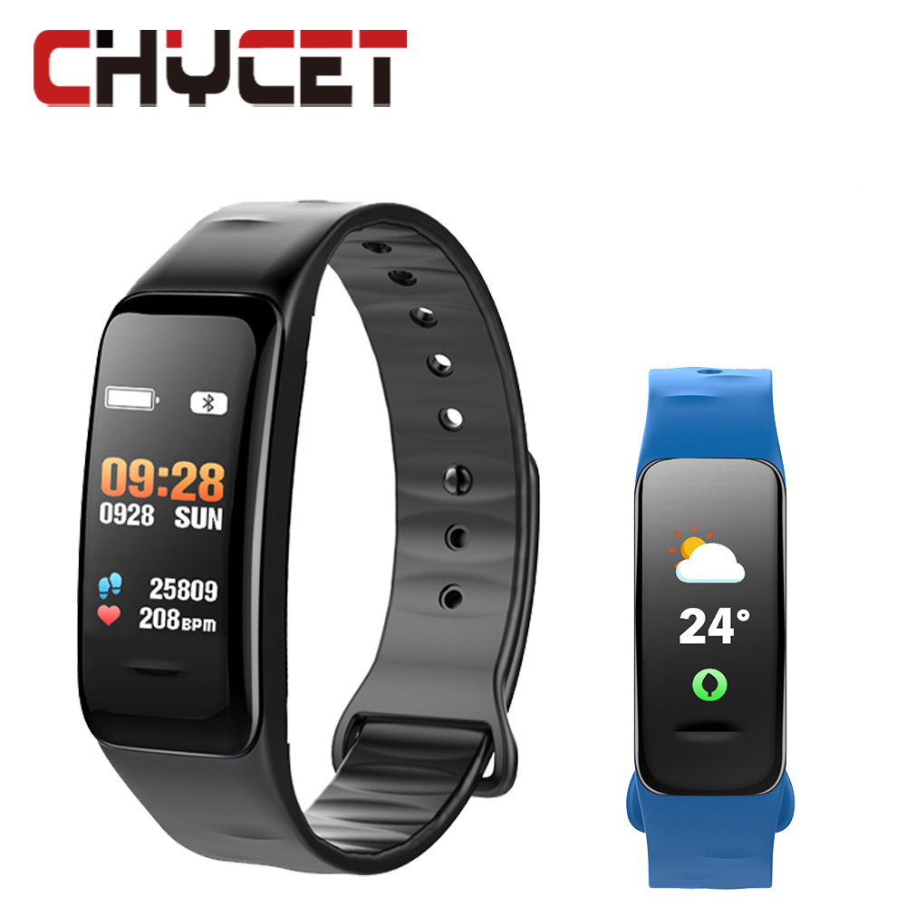 2018 Smart bracelet C1s Color screen Waterproof wristband heart rate monitor Blood pressure measurement Fitness tracker band