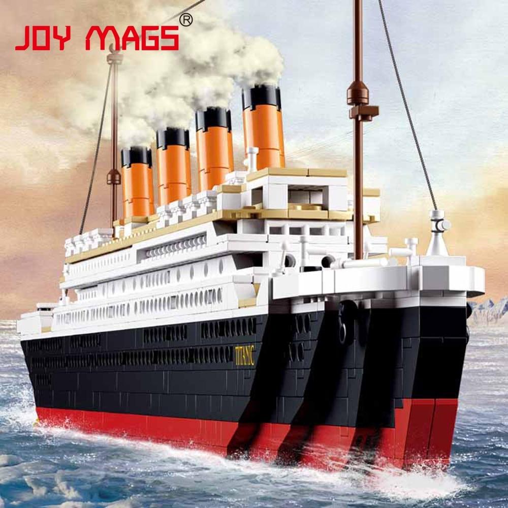 цена на JOY MAGS 1021PCS Titanic RMS Ship Jack And Rose Building Blocks Sets Toys Boat Model Kid Gift With Light
