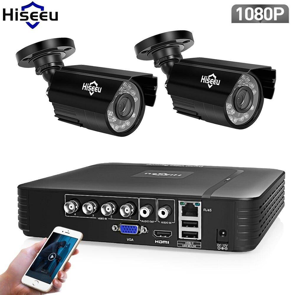 Hiseeu AHD безопасности Камера Системы 1080 P видеонаблюдения 4CH 5 в 1 DVR инфракрасного CCTV Системы Водонепроницаемый предупреждение по электронной ...