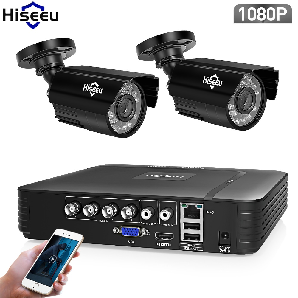 Hiseeu AHD Sistema di Telecamere di Sicurezza 1080 p Video di Sorveglianza 4CH 5 in 1 DVR Sistema CCTV Impermeabile E-Mail di Allarme A Raggi Infrarossi XMeye