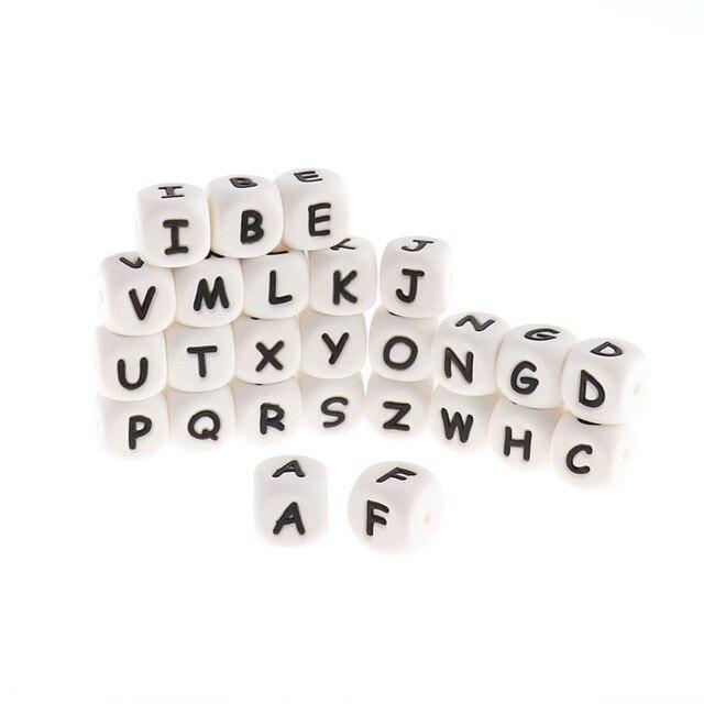 Perles de dentition Alphabet en Silicone, 100 pièces, 12mm, pour bébé infirmière, cadeau, de qualité alimentaire, ensemble rongeur