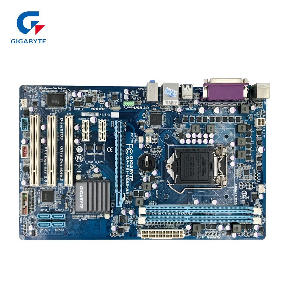Gigabyte GA-P61-USB3-B3 Original Used Desktop Motherboard P61-USB3-B3 H61 LGA 1155 i3 i5 i7 DDR3 16G ATX ga p61 s3 p61 desktop motherboard large panel p61 s3 a 1155 ddr3 100% tested perfect quality