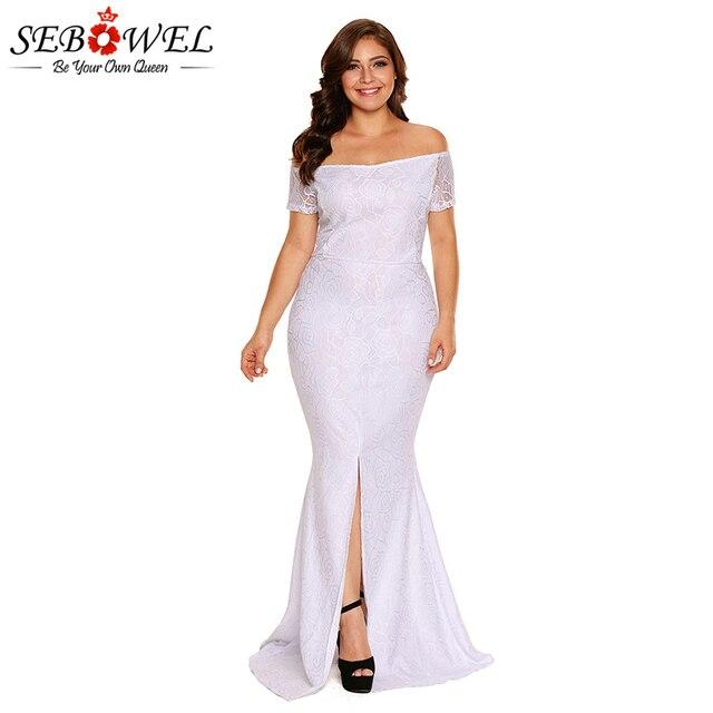 149494698be SEBOWEL élégant blanc dentelle Maxi robe de soirée femmes grande taille  Sexy hors épaule longue robe