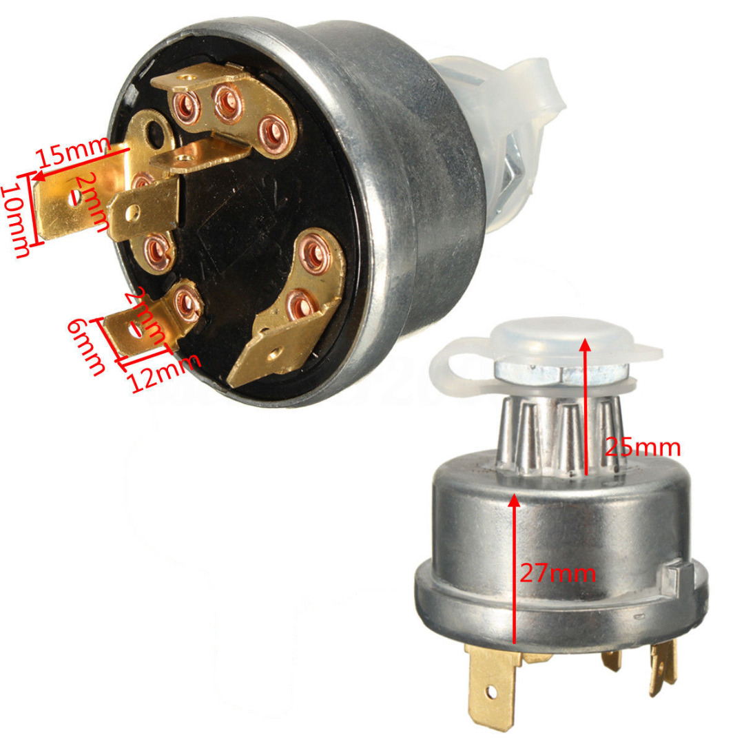 Mayitr Ignition Switch Starter Universal Tractor Car Start Lock With 2 Key For Massey Ferguson