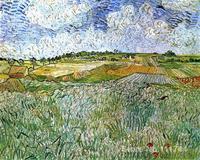 Tường nghệ thuật The Đồng Bằng ở Auvers của Vincent Van Gogh tranh on canvas Handmade chất lượng Cao