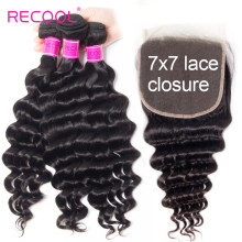 Recool Loose Deep Wave Bundles With Closure Remy Curly Human Hair Bundles With 7x7 Lace Closure Brazilian Hair Weave Bundles(China)