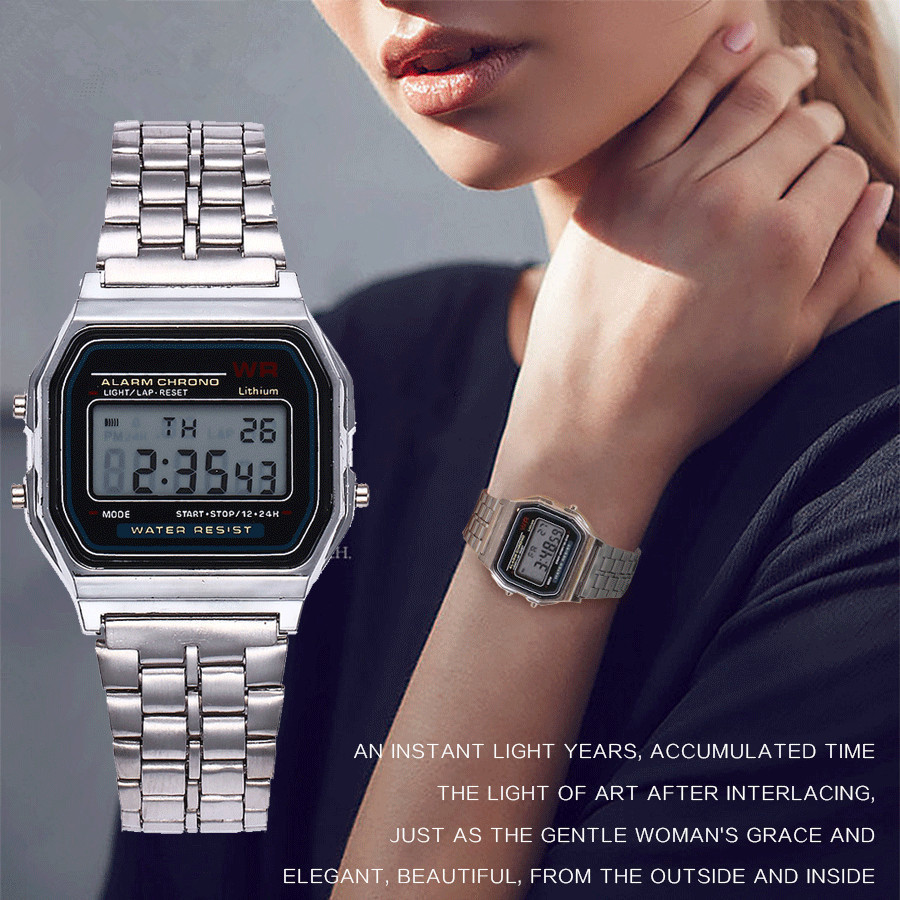 Men Women LED Digital Watch Clock Gold Silver Vintage Stainless Steel LED Digital Sports Military Wristwatches Relogio Masculino