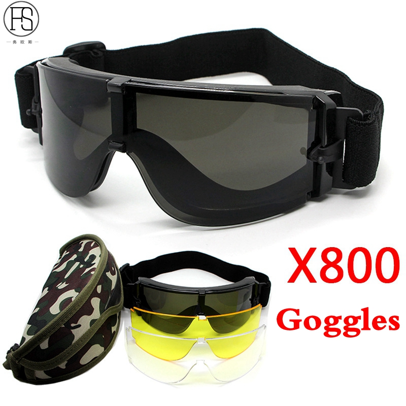 Military Tactical Goggle Airsoft Glasses Outdoor Sports Paintball Sunglasses Shooting Hunting Eyewear 51783 camo shooter jacket and pants mens python grain military hunting paintball camping airsoft paintball tactical sports set