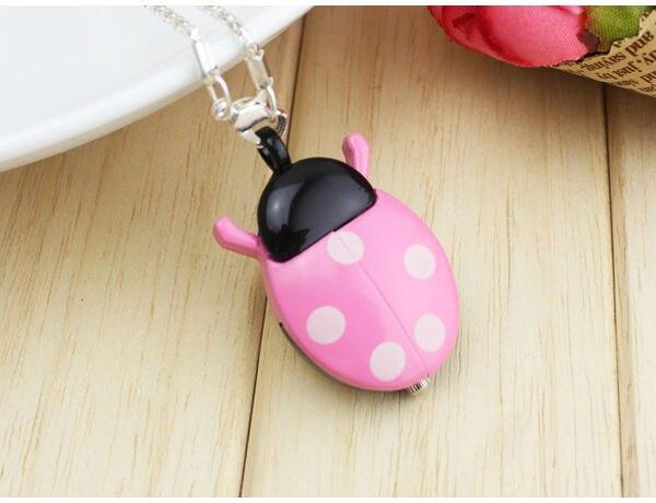 New Brand Fashion Colorful multicolor Ladybug Necklace Pocket Pendant Sweater chain Dress Quartz Watch ladies kids gift