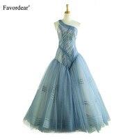 Favordear высокое качество одно плечо иллюзия органза вечернее платье Vestido De Noche Ellegant простое Формальное вечернее платье