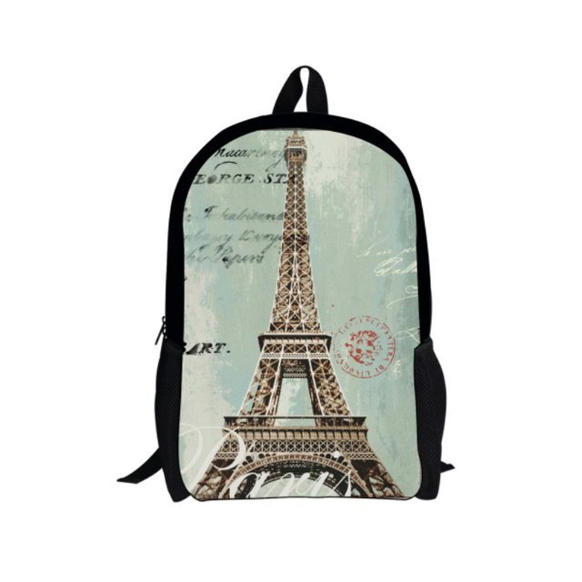 Moda Niños Bolsas Escuela Impresión de la Torre Eiffel de París de La Vendimia de la Lona Del Bolso de Escuela de Niñas Mujeres Mochila Mochila Escolar