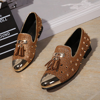 New Metal Round Toe Leather Men Loafers Tassel Decor Party Wedding Men Dress Shoes Fashion Rivets