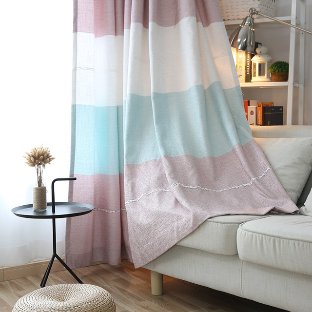 Online Shop Japan Style Colorful Horizontal Striped Curtain For