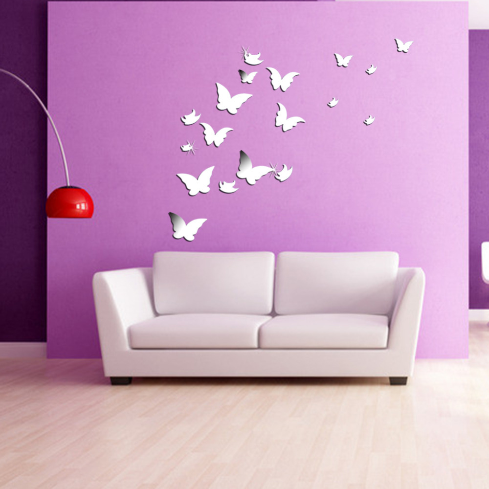 Different Shaped Mirrors 20 pcs 3d modern wall stickers silver butterfly shaped acrylic