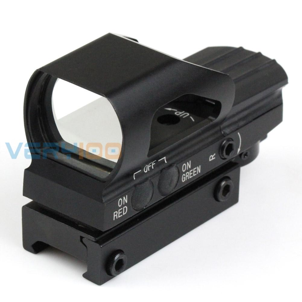 VERY100 New Tactical Metal Holographic 4 Reticle Red Green Dot Sight For 21mm Picatinny Rail Free Shipping
