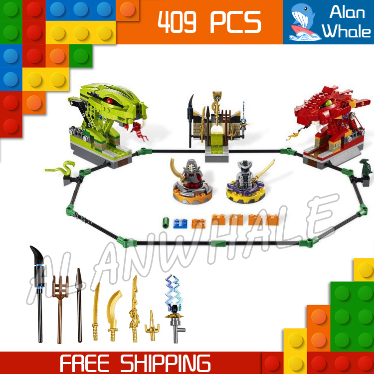 409pcs new BELA 9758 Ninja Spinner Battle Snake Dragon Building Blocks Sets Jigsaw Construction Compatible With lego катализатор 409