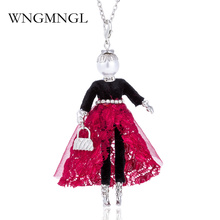 цена на WNGMNGL Elegant Doll Pendant Necklace Lovely Dress Doll Necklaces & Pendants Maxi Collares Women Collier Long Necklace Colar