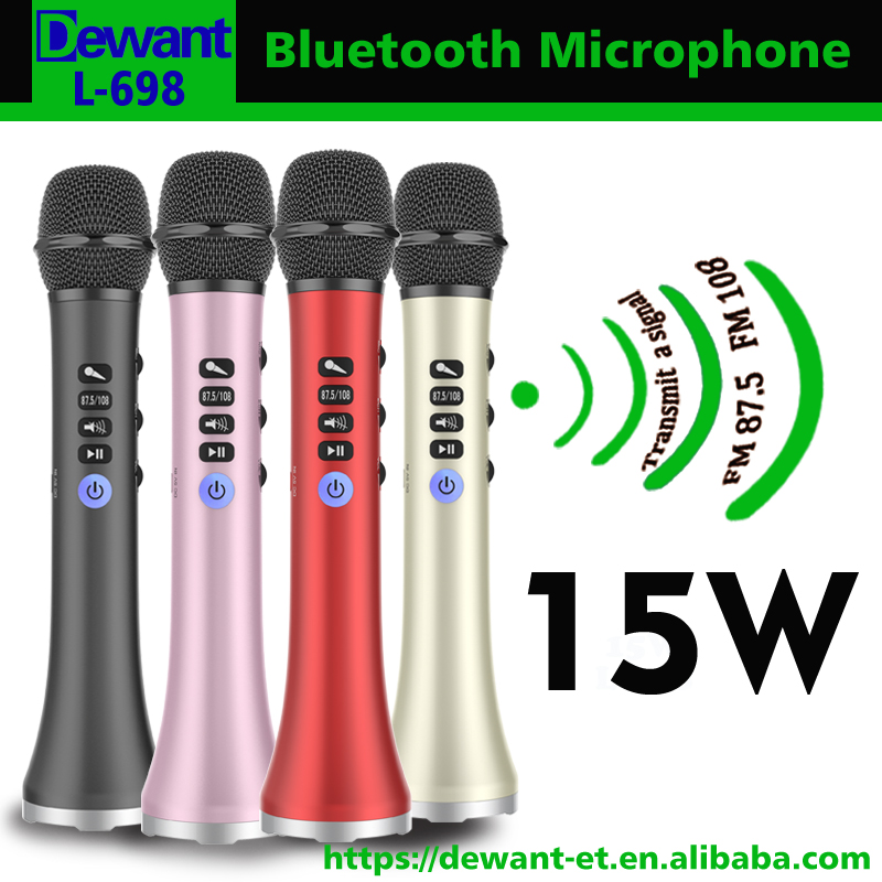 L 698 professional 15W portable usb wireless bluetooth karaoke microphone speaker for teachers tour guide with